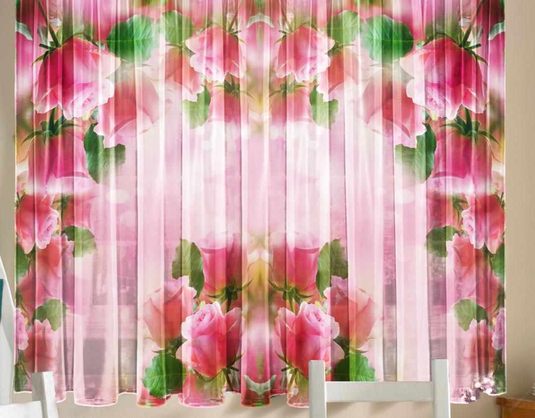 Фотошторы - Тюль для кухни Розовая арка