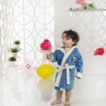 Детский халат с велюром Snop 4-5 лет синий-саксен