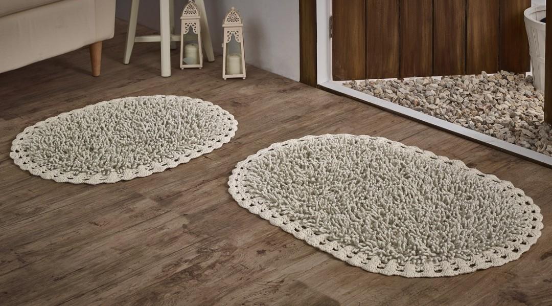 Набор ковриков с люрексом Dual кремовый