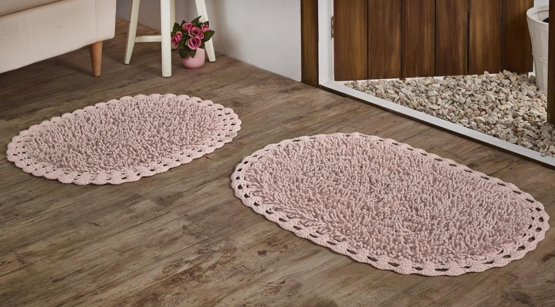 Набор ковриков с люрексом Dual розовый