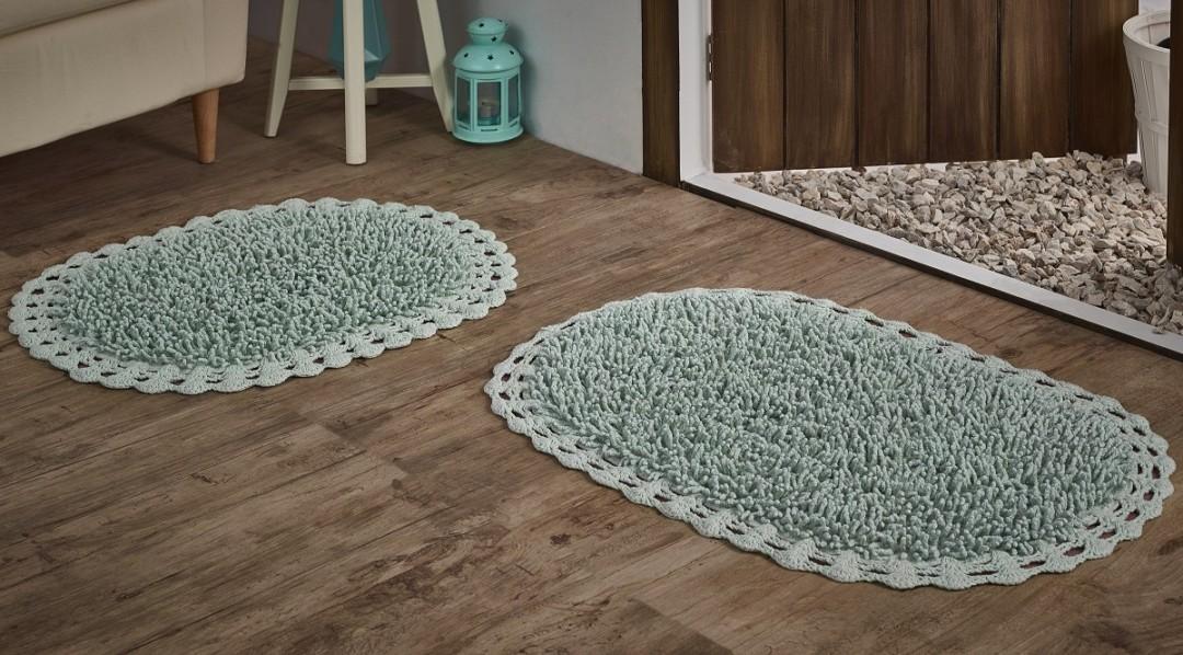Набор ковриков с люрексом Dual светло-зеленый