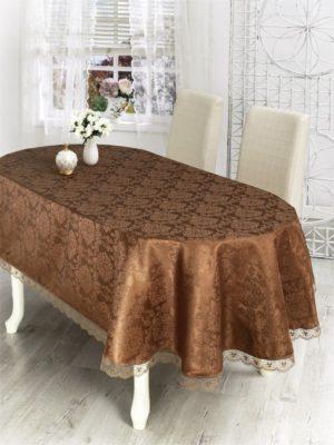 Скатерть  с гипюром Nihan 160*280 см овал коричневый