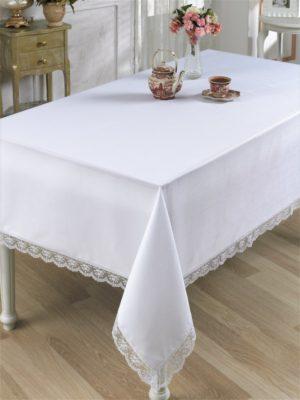Скатерть  с гипюром SIESTAL 150*220 см белый
