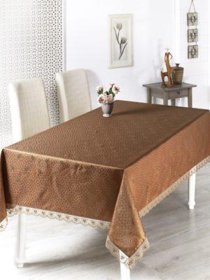 Скатерть  с гипюром Nihan 160*350 см коричневый