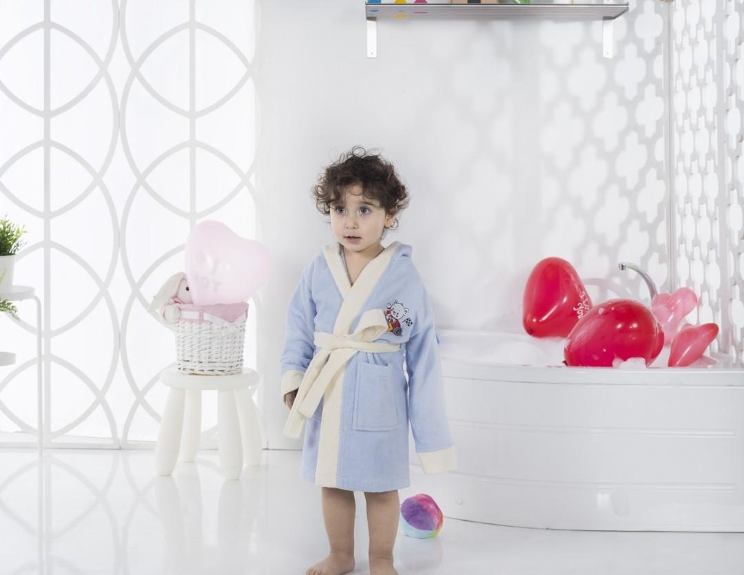 Детский халат с велюром Snop 6-7 лет голубой