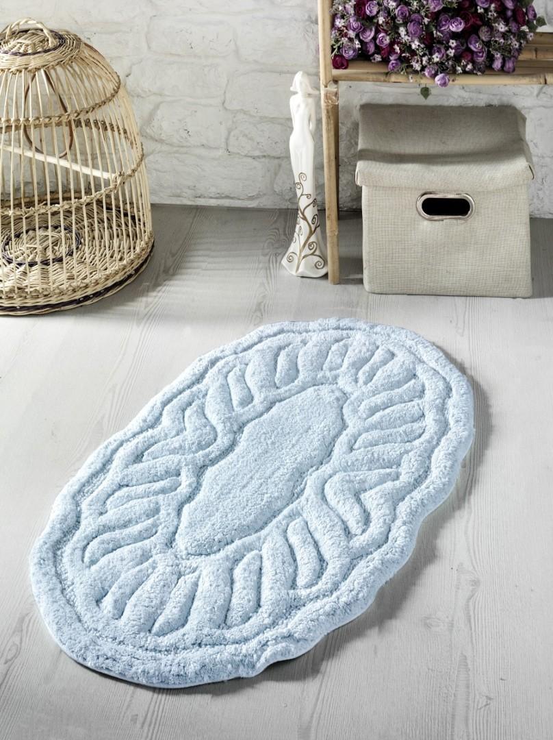 Коврик для ванной Wenge 50*80 см овал голубой