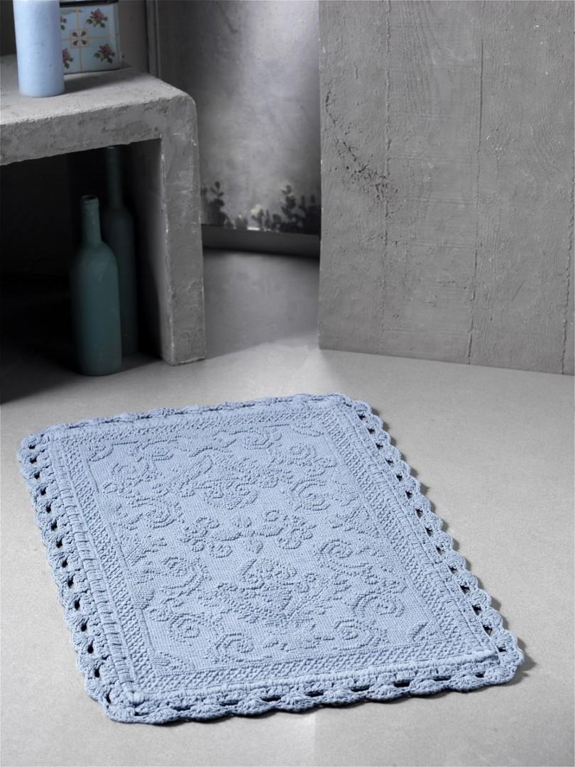 Коврик для ванной кружевной Darin 55*85 см голубой