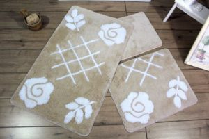Набор ковриков для ванной DO&CO (60Х100 см/50x60 см) PASTEL бежевый