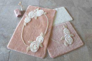 Набор ковриков для ванной DO&CO (60Х100 см/50x60 см) ROSELIN персик