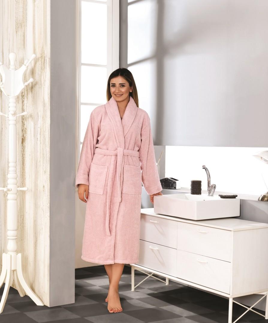 Махровый халат Basic розовый разм.М