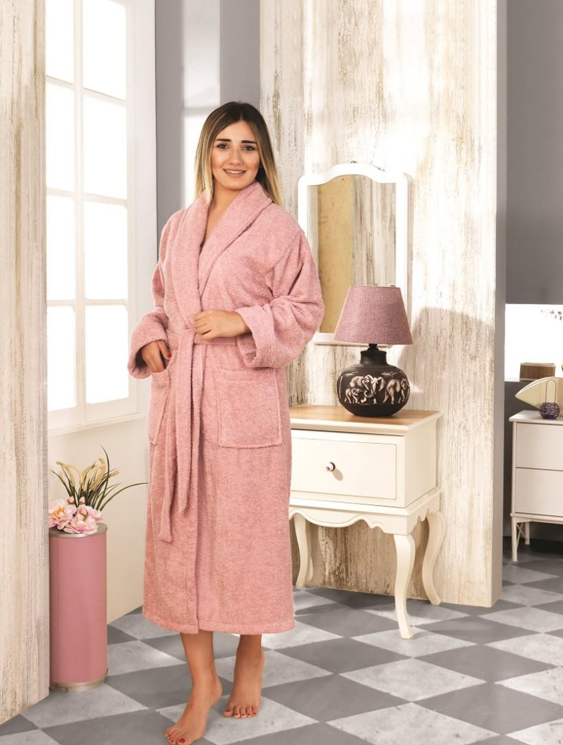 Махровый халат Basic грязно-розовый разм.L