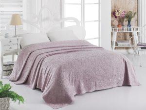 Простынь махровая     ESRA 200x220 см  Грязно-розовый