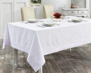 Скатерть   с вышивкой  HONEY 160x220 см  Белый