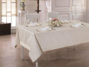 Скатерть  жаккард cotton с кантом LINEN  160x220 см  V2