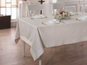 Скатерть  жаккард cotton с кантом LINEN  160x220 см  V3