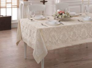 Скатерть  жаккард cotton с кантом LINEN  160x220 см  V1