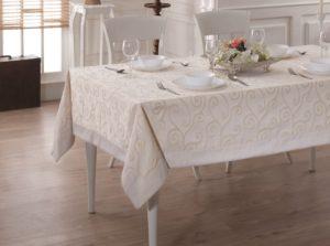 Скатерть  жаккард cotton с кантом LINEN 160x260 см  V1
