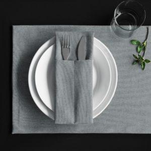 Комплект кувертов Ибица 10х24 см Серый