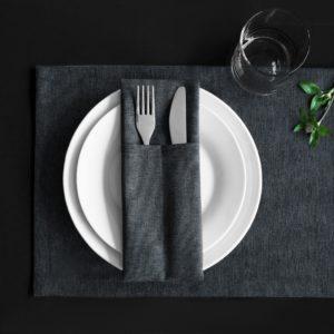 Комплект кувертов Ибица 10х24 см Темно-серый