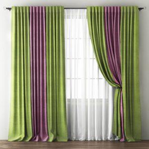 Комплект штор с подхватами Кирстен 2х240х270 см Зеленый/Фиолетовый
