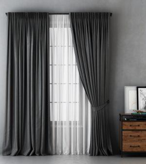 Комплект штор с подхватами  Алекс  2х170х270 см Серый