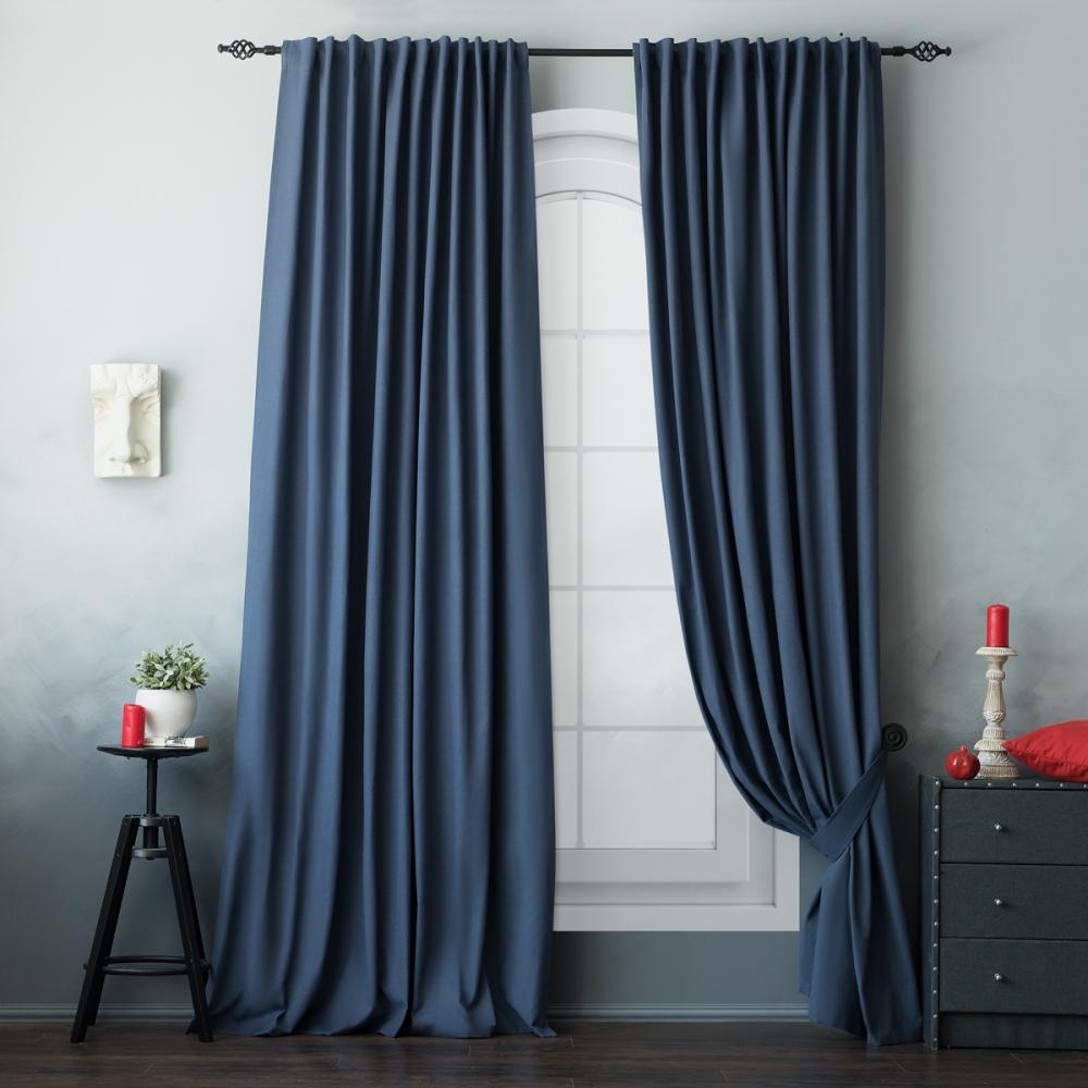 фото штор в синих тонах с серыми изготовления