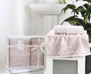Комплект махровых полотенец BEYZA Пудра