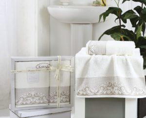 Комплект махровых полотенец BEYZA Кремовый