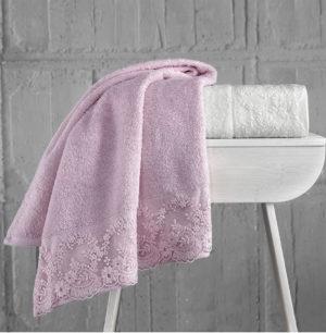 Комплект махровых полотенец c гипюром  ELINDA Кремовый-Пудра