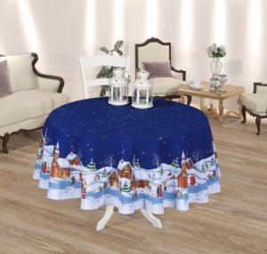Скатерть Efor New Year 160 диаметр синий