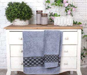 Махровое полотенце Шарм серый
