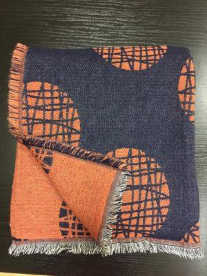 Плед A.Salgado Mina Blue/Orange шерсть/хлопок 140*200 см