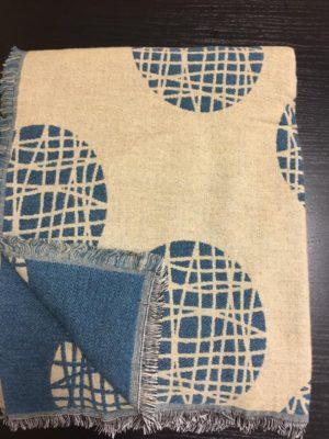Плед A.Salgado Mina Beige/Blue шерсть/хлопок 140*200 см