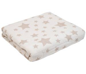 Плед-Покрывало Звезды белый/табачный 100% хлопок 140*200