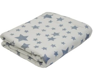 Плед-Покрывало Звезды белый/синий 100% хлопок 140*200