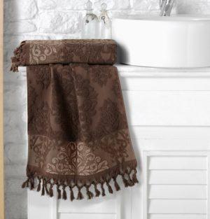Полотенце махровое KARNA жаккард с бахромой OTTOMAN 50x90 Темно-коричневый