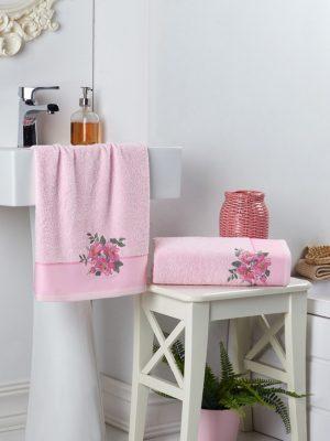 Комплект махровых полотенец с вышивкой FLORYA Розовый