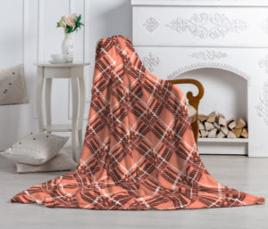 Плед-покрывало Павлина Аэро Софт Шотландка коричневая 150х200