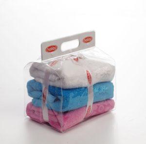 Махровое полотенце в сумке пвс 50x90*3 DORA белый/розовый/бирюзовый 100% Хлопок