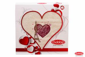 Махровое полотенце в коробке 50x90 LOVE кремовый 100% Хлопок