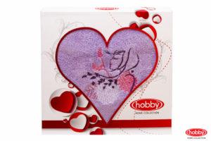 Махровое полотенце в коробке 50x90 LOVE лиловый 100% Хлопок