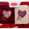 Махровое полотенце в коробке 50x90*2 LOVE кремовый/бордовый 100% Хлопок
