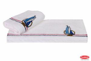 Махровое полотенце с вышивкой 50x90 MARINA белый парусник 100% Хлопок