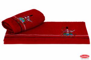 Махровое полотенце с вышивкой 50x90 MARINA красный маяк 100% Хлопок