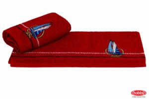 Махровое полотенце с вышивкой 50x90 MARINA красный парусник 100% Хлопок