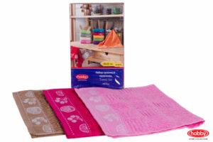 Махровое полотенце в упаковке 30x50*3 MEYVE BAHCESI фуксия/розовый/коричневый 100% Хлопок
