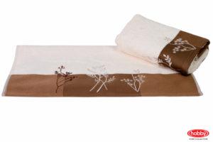 Махровое полотенце с вышивкой 50x90 FLORA кремовый 100% Хлопок