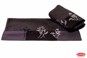 Махровое полотенце с вышивкой 50x90 FLORA т.серый 100% Хлопок