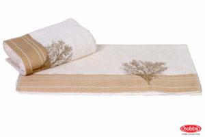 Махровое полотенце с вышивкой 50x90 INFINITY кремовый 100% Хлопок