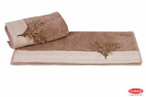 Махровое полотенце с вышивкой 50x90 INFINITY св.коричневый 100% Хлопок